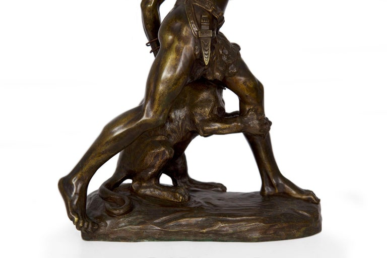 Authentic Thomas Cartier French Bronze Sculpture of Indian Warrior and Lynx For Sale 8