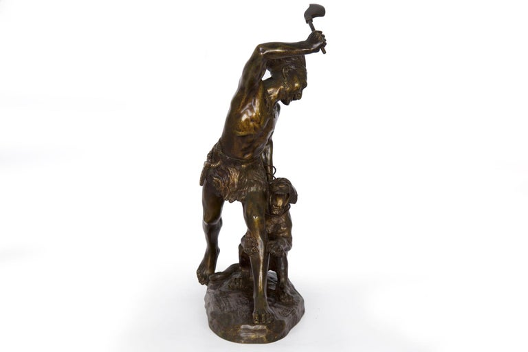Authentic Thomas Cartier French Bronze Sculpture of Indian Warrior and Lynx For Sale 11