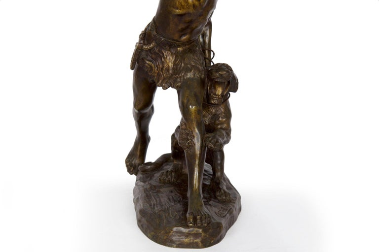 Authentic Thomas Cartier French Bronze Sculpture of Indian Warrior and Lynx For Sale 13