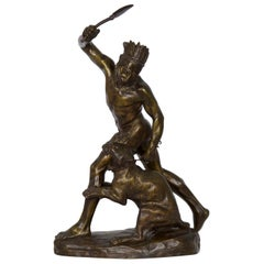 Authentic Thomas Cartier French Bronze Sculpture of Indian Warrior & Lynx