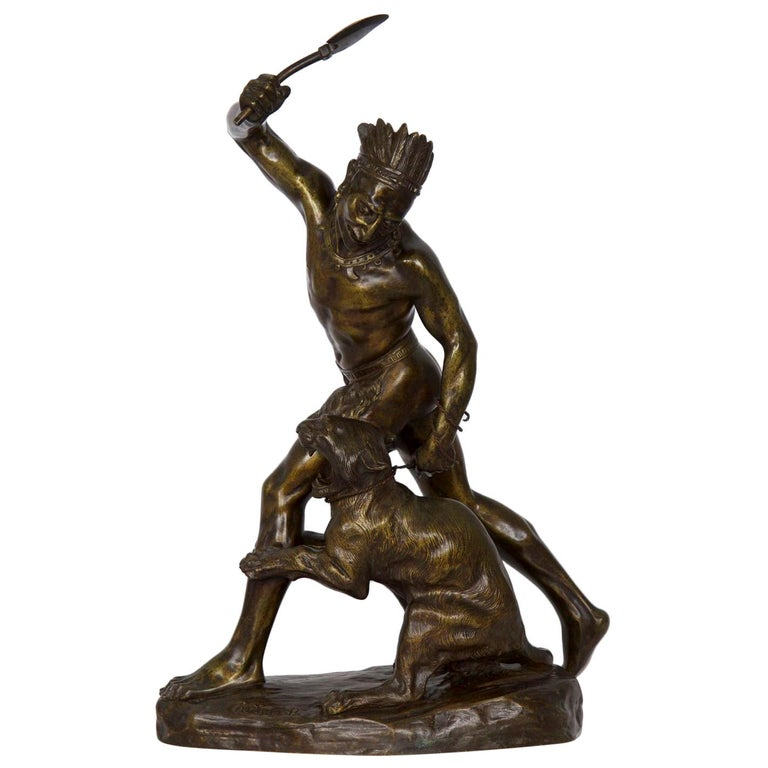 Authentic Thomas Cartier French Bronze Sculpture of Indian Warrior and Lynx For Sale