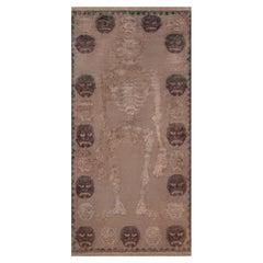 Authentic Tibetan Skeleton Motif Handmade Wool Rug
