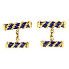 Authentic Tiffany & Co. 18 Karat Gold Schlumberger Blue Navy Enamel Cufflinks