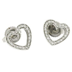 Authentic Tiffany & Co. 18 Karat White Gold Diamonds Heart Stud Earrings