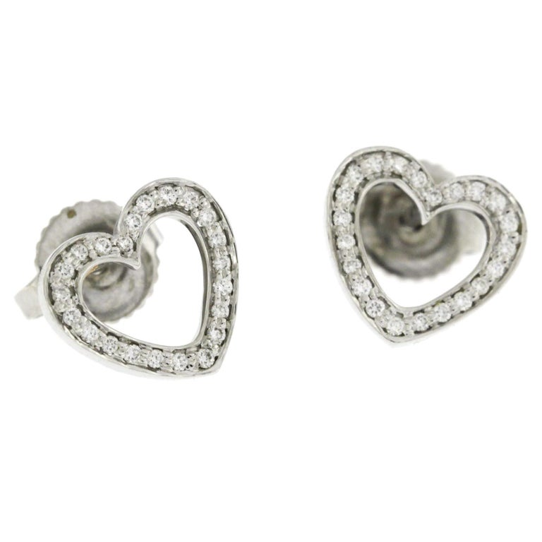 Authentic Tiffany And Co 18 Karat White Gold Diamonds Heart Stud Earrings For Sale At 1stdibs