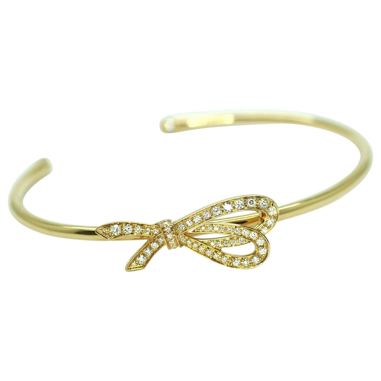 Authentic Tiffany & Co 18 Karat Yellow Gold Diamond Bow Cuff Bracelet