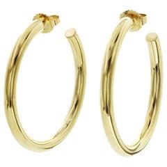 Authentic Tiffany & Co. 18 Karat Yellow Gold Hoop Earrings