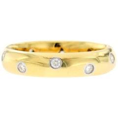 Authentic Tiffany & Co. 18 Karat Yellow Gold Platinum Diamonds Etoile Band Ring