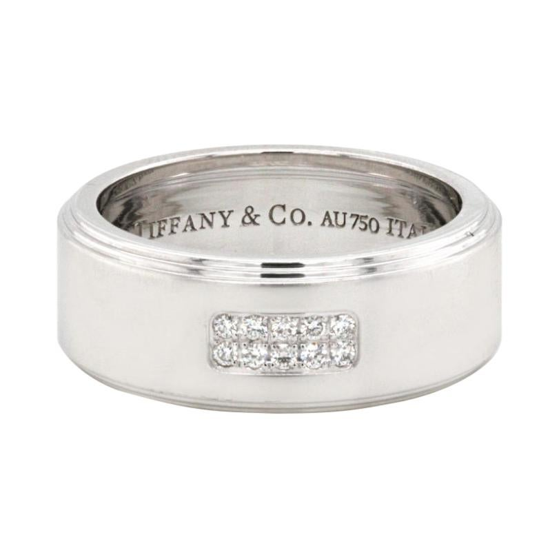 Authentic Tiffany & Co 18k White Gold Diamond Band Ring