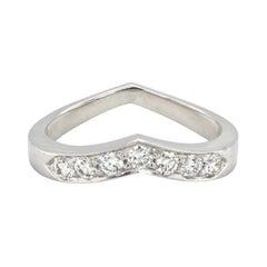 Authentic Tiffany & Co. 950 Platinum Heart V Shape Wedding Band Ring