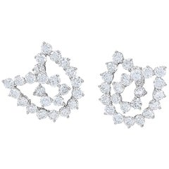 Authentic Tiffany & Co. Diamond Knot Earrings Approximate 5.50 Carat Diamonds
