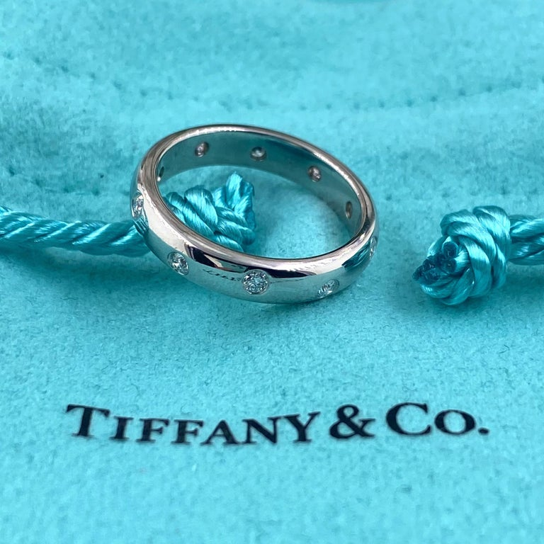 Authentic Tiffany & Co. Etoile Diamond Wedding Band Ring in Platinum For Sale 5