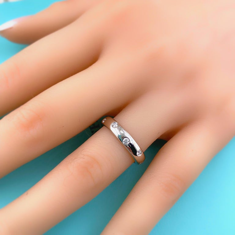 Authentic Tiffany & Co. Etoile Diamond Wedding Band Ring in Platinum For Sale 6