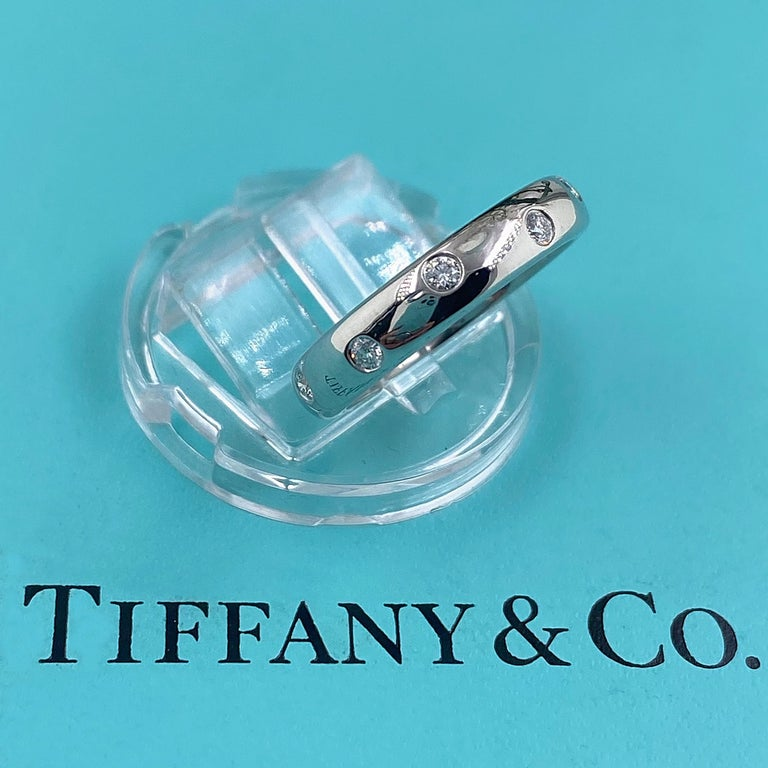 Round Cut Authentic Tiffany & Co. Etoile Diamond Wedding Band Ring in Platinum For Sale