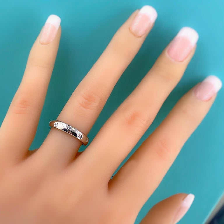Women's or Men's Authentic Tiffany & Co. Etoile Diamond Wedding Band Ring in Platinum For Sale