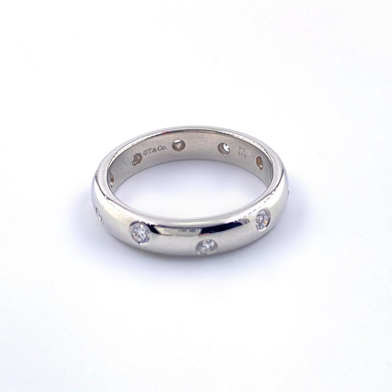 Authentic Tiffany & Co. Etoile Diamond Wedding Band Ring in Platinum For Sale 2