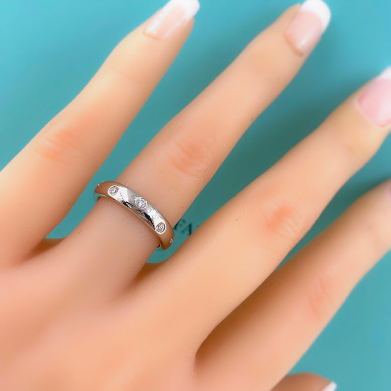 Authentic Tiffany & Co. Etoile Diamond Wedding Band Ring in Platinum For Sale 4