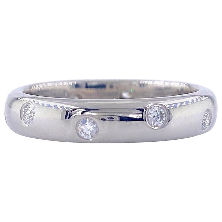 Authentic Tiffany & Co. Etoile Diamond Wedding Band Ring in Platinum For Sale