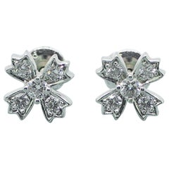 Authentic Tiffany & Co. Floret Stud Earrings of Round Brilliant Diamonds