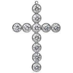 Authentic Tiffany & Co. Jazz Cross Diamond Pendant in Platinum