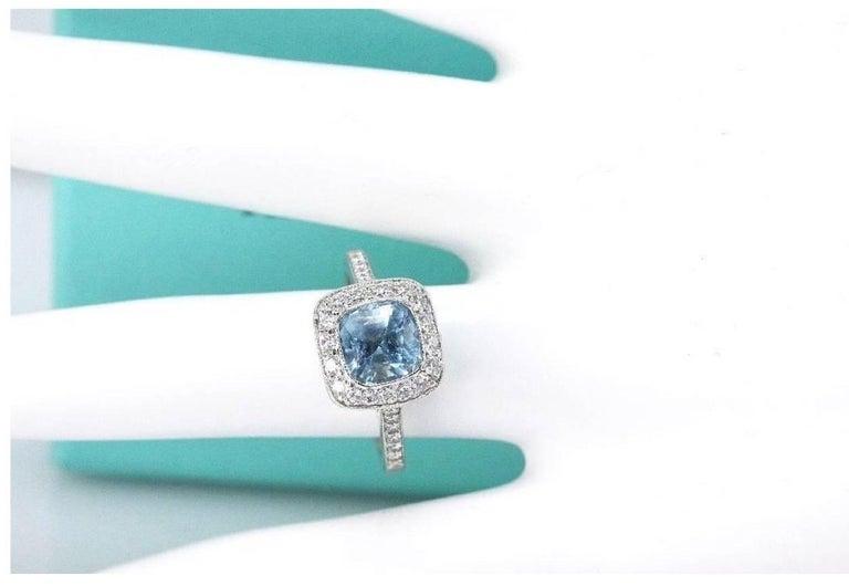 Authentic Tiffany & Co. Legacy 1.57 Carat Aquamarine Diamond Ring in Platinum For Sale 4