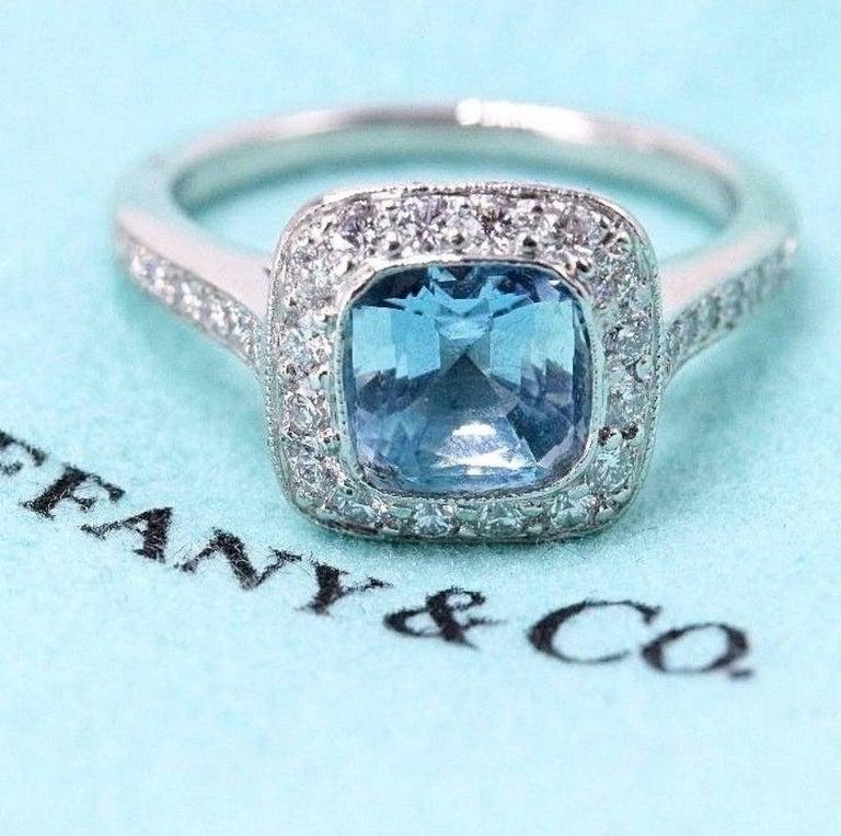 Authentic Tiffany & Co. Legacy 1.57 Carat Aquamarine Diamond Ring in Platinum For Sale 6
