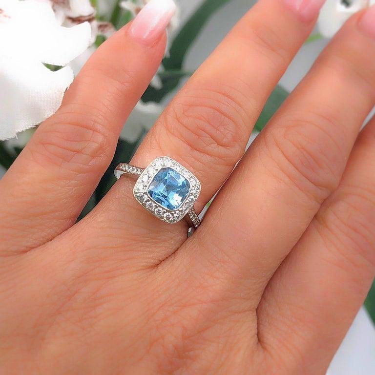Authentic Tiffany & Co. Legacy 1.57 Carat Aquamarine Diamond Ring in Platinum For Sale 7