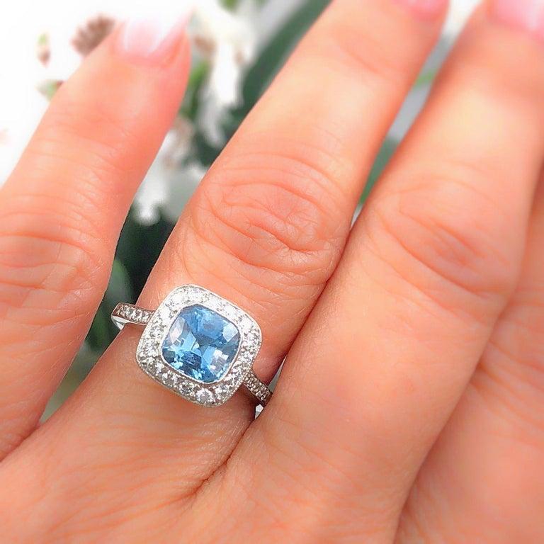 Authentic Tiffany & Co. Legacy 1.57 Carat Aquamarine Diamond Ring in Platinum For Sale 8