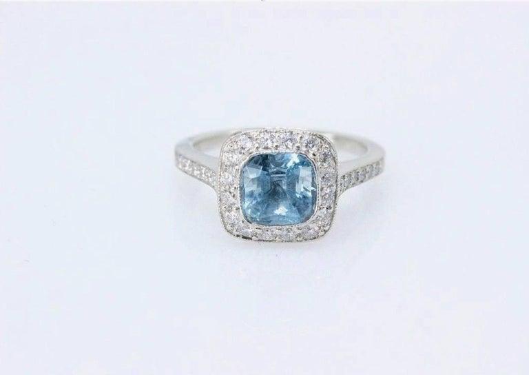 c955ba6ea Art Deco Authentic Tiffany & Co. Legacy 1.57 Carat Aquamarine Diamond Ring  in Platinum For