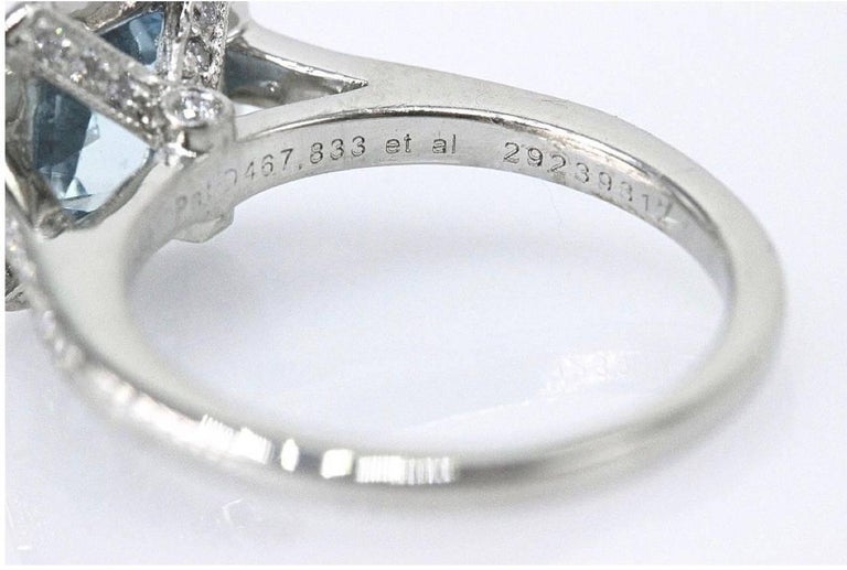 Cushion Cut Authentic Tiffany & Co. Legacy 1.57 Carat Aquamarine Diamond Ring in Platinum For Sale