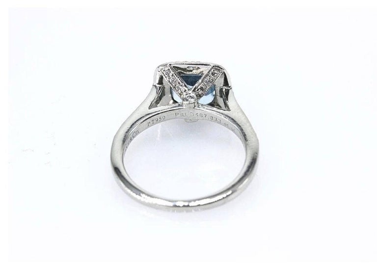 Authentic Tiffany & Co. Legacy 1.57 Carat Aquamarine Diamond Ring in Platinum In Excellent Condition For Sale In San Diego, CA