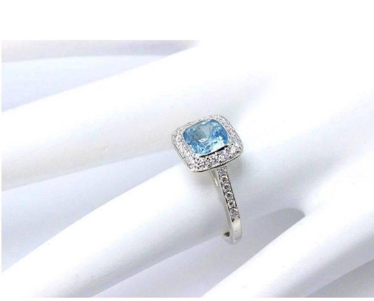 Women's Authentic Tiffany & Co. Legacy 1.57 Carat Aquamarine Diamond Ring in Platinum For Sale