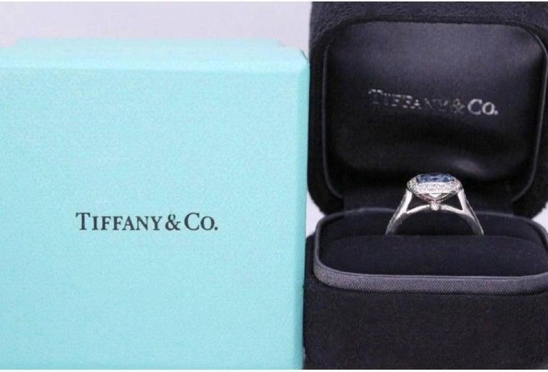 Authentic Tiffany & Co. Legacy 1.57 Carat Aquamarine Diamond Ring in Platinum For Sale 1
