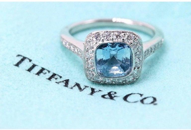 Authentic Tiffany & Co. Legacy 1.57 Carat Aquamarine Diamond Ring in Platinum For Sale 2