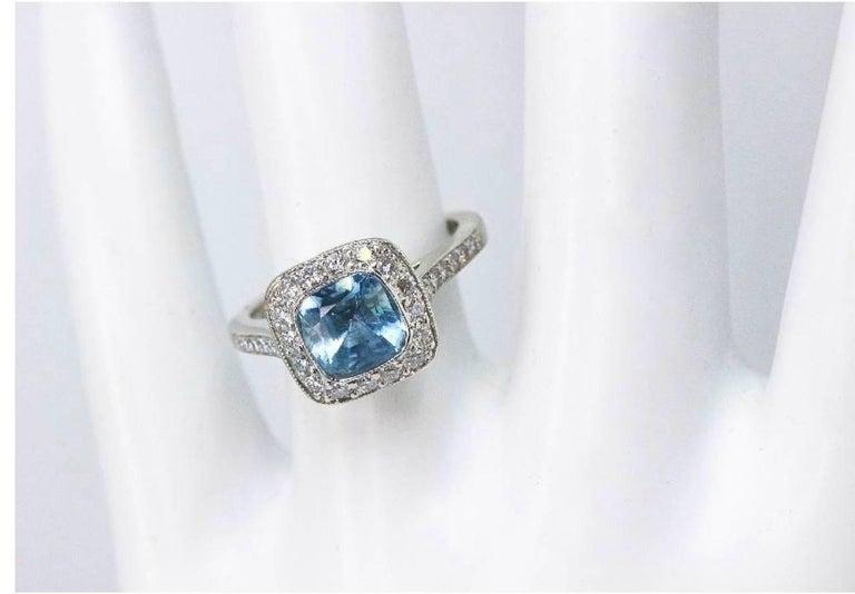 Authentic Tiffany & Co. Legacy 1.57 Carat Aquamarine Diamond Ring in Platinum For Sale 3