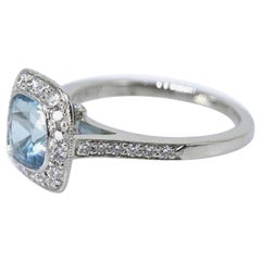 Authentic Tiffany & Co. Legacy 1.57 Carat Aquamarine Diamond Ring in Platinum