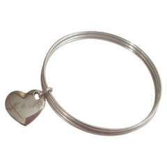 Authentic Tiffany & Co Silver Trio Bangles with Tilted Heart Charm, Retired Item