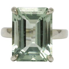 Authentic Tiffany Green Amethyst Cocktail Ring 10 Carat Emerald Cut Prasiolite