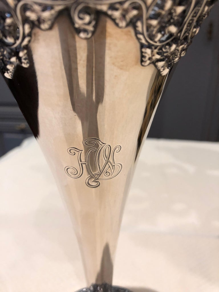 Authentic Tiffany Sterling Silver Trumpet Vase In Good Condition For Sale In Hopewell, NJ