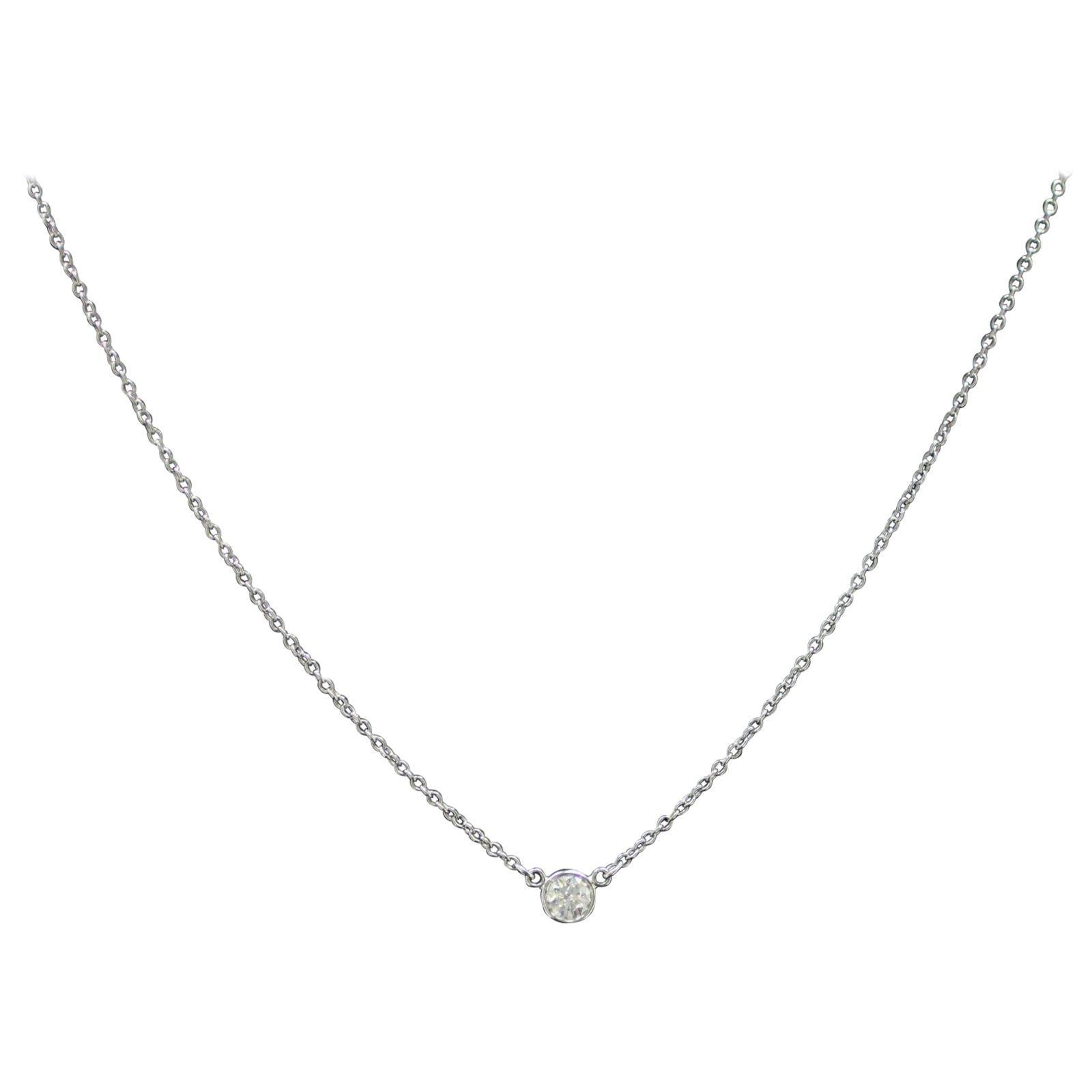 Authentic Tiffany & Co. Tiffany Round Diamond Pendant in Platinum