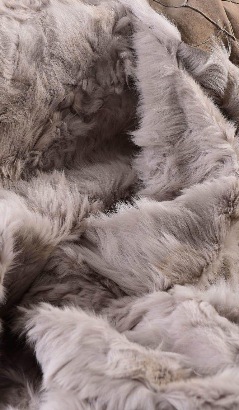 Contemporary JG Switzer Toscana Sheep Fur Truffle Throw Backed with Lambswool/Cashmere For Sale