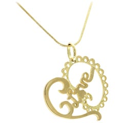 Authentic TOUS 18 Karat Yellow Gold Heart Love Bear Necklace