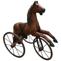 Authentic Tripod Children's Wooden Rocking Horse 19th Century