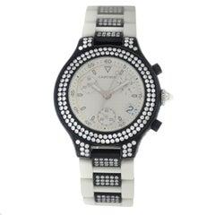 Authentic Unisex Cartier Chronoscaph PVD Steel Diamond Quartz Watch