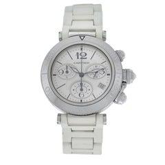 Authentic Unisex Cartier Pasha Steel Date Quartz Chronograph Watch