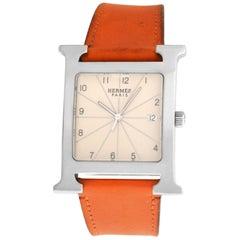Authentic Unisex Hermes H Hour HH1.810 Steel Quartz Watch
