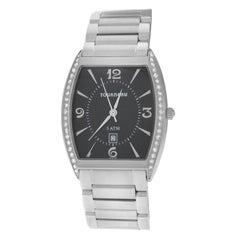 Authentic Unisex Tourneau Stainless Steel Diamond Date Quartz Watch