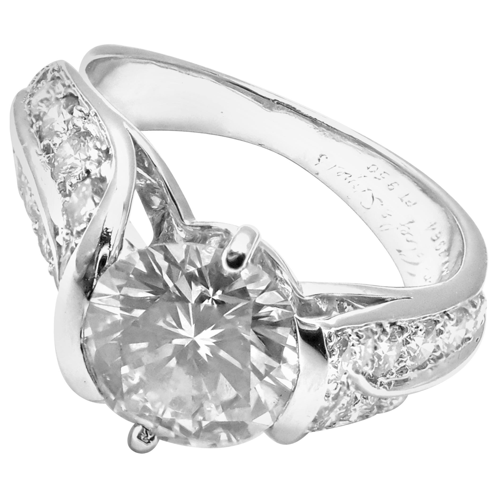 Authentic Van Cleef & Arpels Platinum 1.88 Carat VVS1 E Diamond Ring GIA