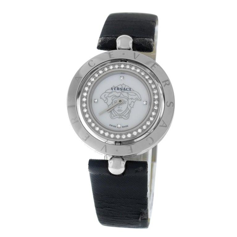 b89011b50 Authentic Versace EON Steel Diamond Quartz Mother of Pearl Watch For Sale