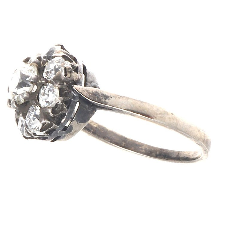Authentic Victorian GIA Certified Old Mine Cut Diamond Gold Cluster Ring In Excellent Condition For Sale In Beverly Hills, CA